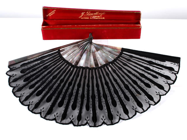 A Italian mother o' pearl and silk fan,