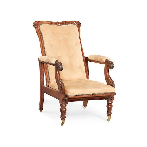 A William IV mahogany reclining armchair