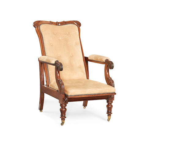 A William IV mahogany reclining armchair