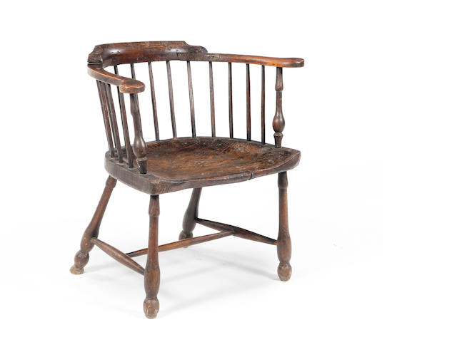 A George III ash and elm Windsor armchair Altered