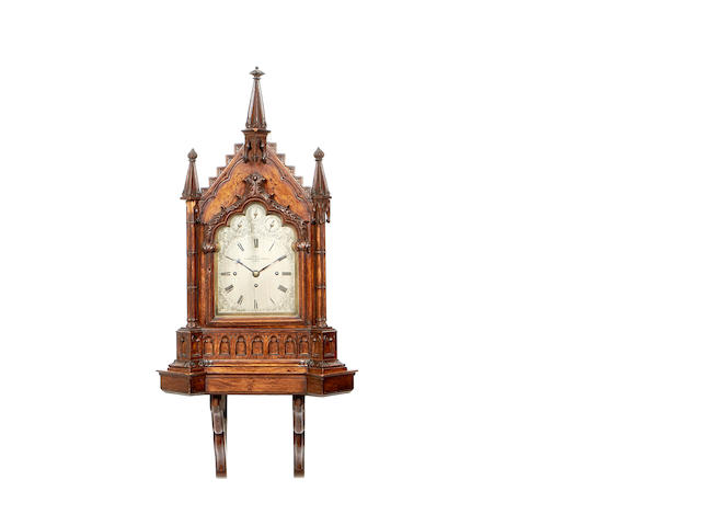 A late 19th century Gothic Revival quarter chiming bracket clock signed J Sewill, 30 Cornhill, Royal Exchange, London, 2