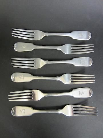 A Victorian set of silver table forks London 1845