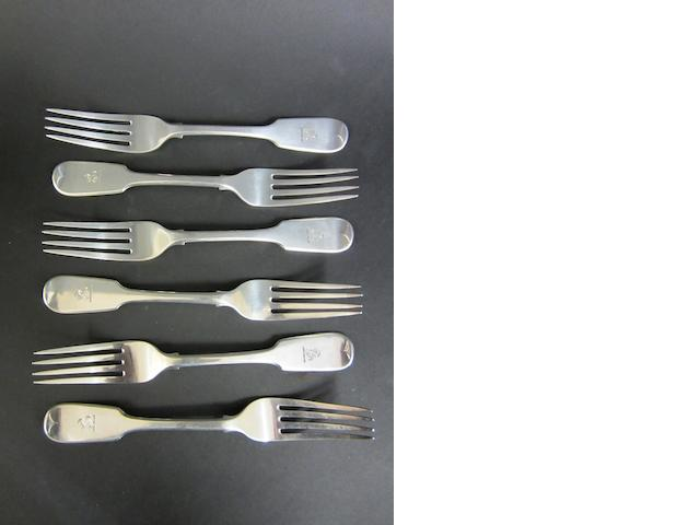 A Victorian silver set of six fiddle pattern table forks London 1845