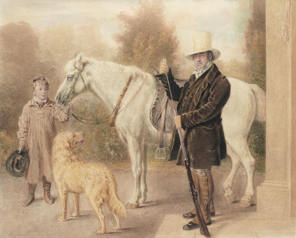 William Henry Hunt, OWS (British, 1790-1864) A sportsman with a boy, a pony and a dog