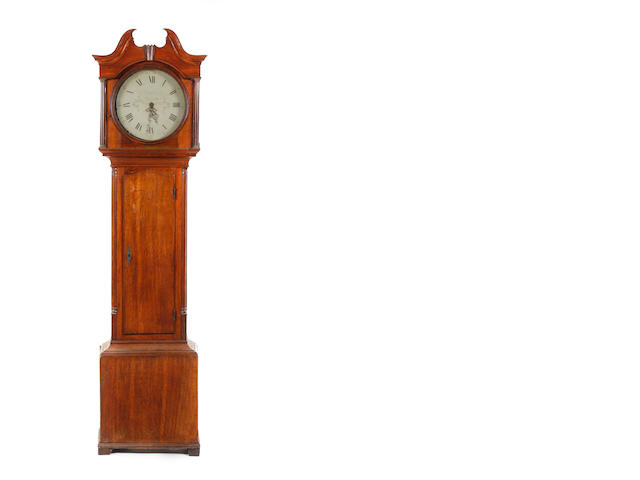 An early 19th century oak cased 30-hour painted round dial longcase clock Indistinctly signed .....Rettendon