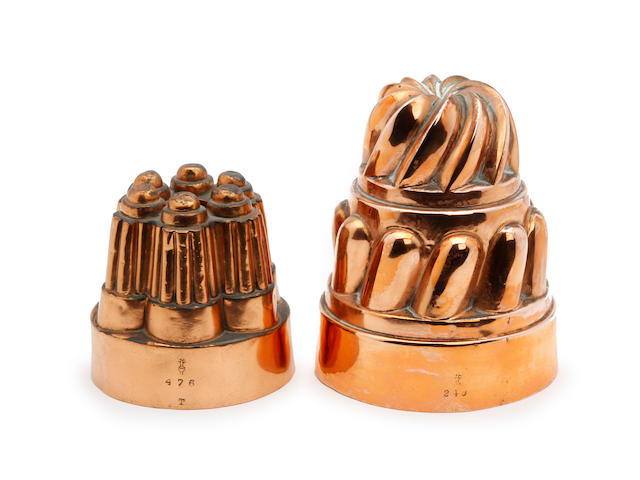 Two Victorian copper jelly moulds, both by Benham & Froud
