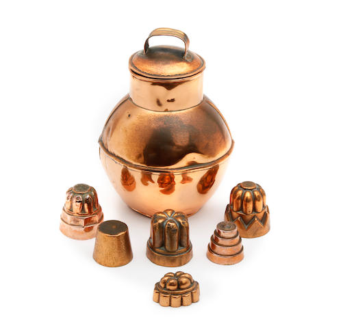 Six miniature Victorian copper jelly moulds