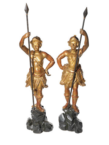 A pair of early 20th century giltwood figures in the Baroque style
