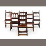 A harlequin set of three late 17th century and three 19th century oak side chairs,  Derbyshire, 19th century  chairs possibly with earlier elements