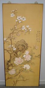 20th Century Chinese school After Yun Shouping (1635-1690) - Two framed paintings silk scrolls.