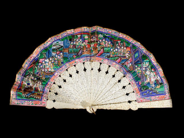 A Chinese fan with a painted leaf on ivory sticks, 19th century