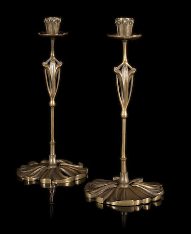 Georges de Feure a Pair of Brass Candlesticks