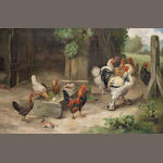 Edgar Hunt (British, 1876-1955) A farmyard scene with chickens and bantams