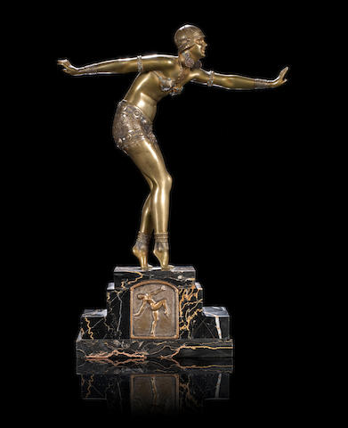 Demetre Chiparus (1886-1947) 'Phoenician Dancer' a Cold-painted and Gilt Bronze Sculpture, circa 1925