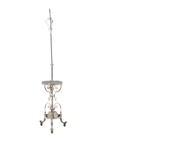 silver plated lamp with table