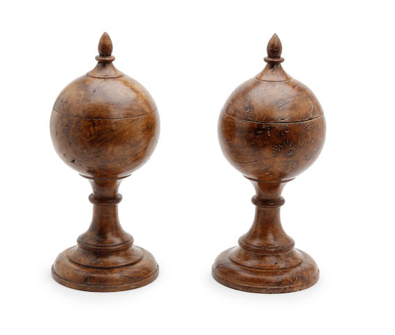 A pair of burr oak lidded vessels