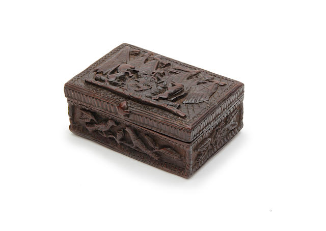An early George III carved treen snuff-box, dated 1763, to commemorate the Treaty of Paris
