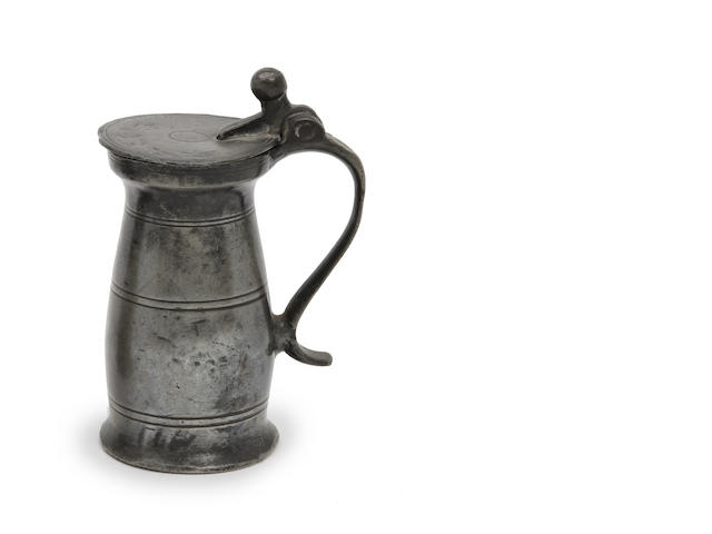 A George I North of England quarter-mutchkin ball and wedge baluster pewter measure, circa 1720