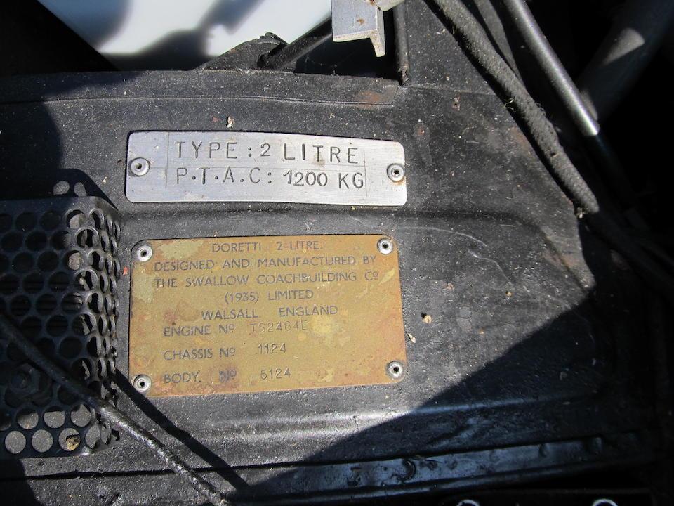 1954 Swallow Doretti Roadster  Chassis no. 1024 Engine no. TS2464E