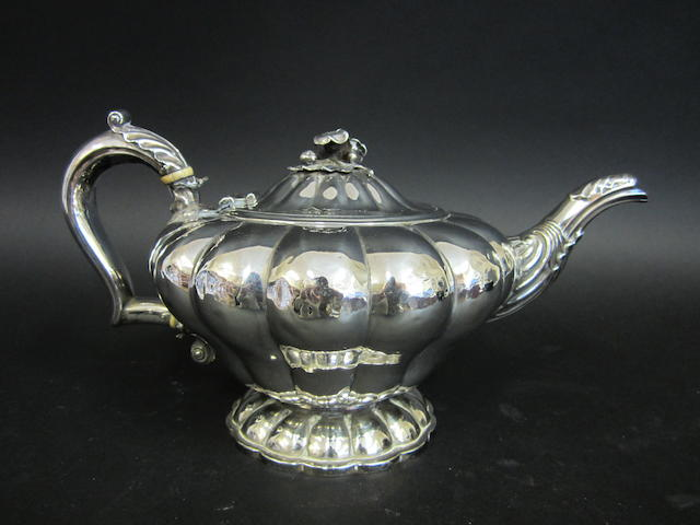 A William IV silver tea pot by Joseph Angell I & John Angell I, London 1831