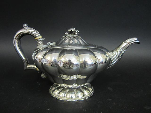 A William IV silver tea pot by Joseph Angell I & John Angell I, London 1831