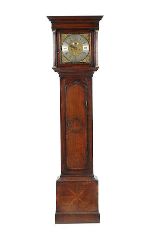An 18th century oak and inlaid 8 day longcase clock  Thomas Ashton, Tideswell