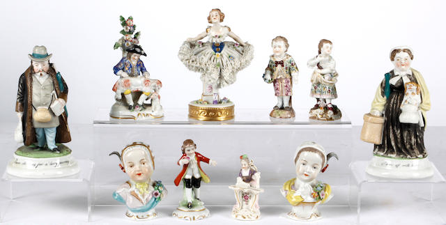 A group of sixteen continetal mostly porcelain figures