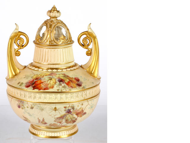 A Royal Worcester two handled pot pouri