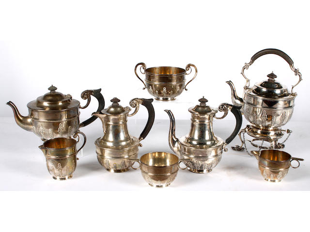 A matched nine piece silver tea set  (9)