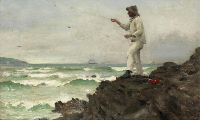 Henry Scott Tuke, RA, RWS (British, 1858-1929) Fishing off Pennance Point