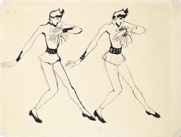 Natalia Sergeevna Goncharova (Russian, 1881-1962) Costume design for Serge Lifar in Sur le Borysthène