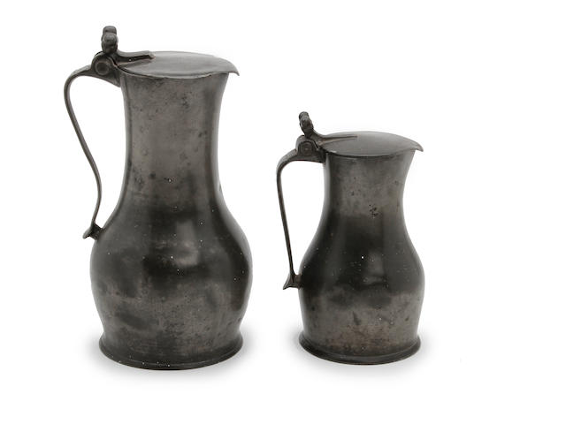 Two late 18th century Guernsey lidded pewter measures