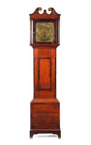 A George III oak 8 day long case clock with anti cider excise duty inscription Joel Spiller, Wellington. Working 1759-1769