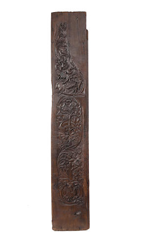 A carved oak plank or board