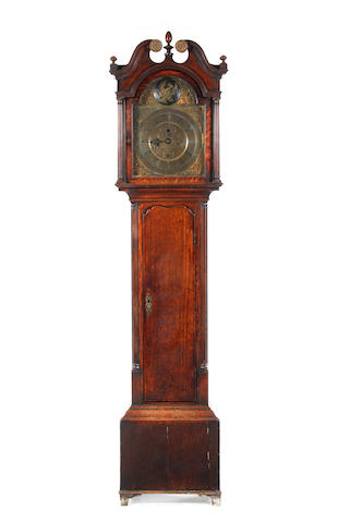 A late 18th century brass dial oak 8 day longcase clock  John Smith, Chester