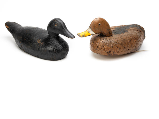 Two painted duck decoys