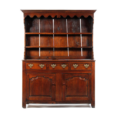 Small mid-18th century oak high dresser, North Wales