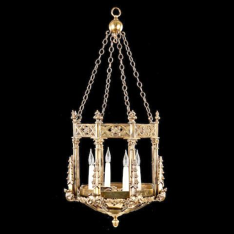 A Neo-Gothic style gilt metal hall lantern