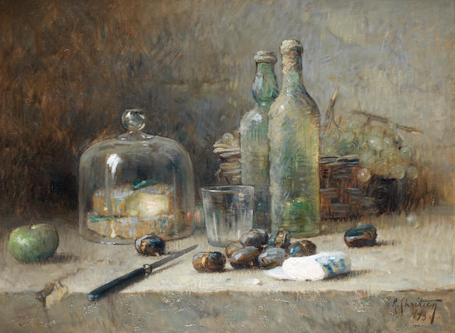 René  Louis Chrétien (French, 1867-1942) Still life of fruit, wine and cheese
