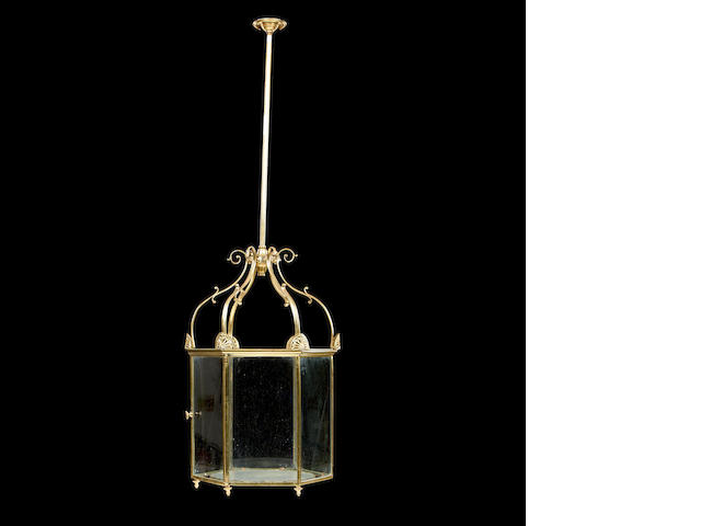 A 19th century brass hall lantern
