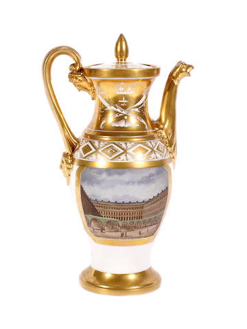 A French Empire porcelain coffee pot and cover, early 19th century