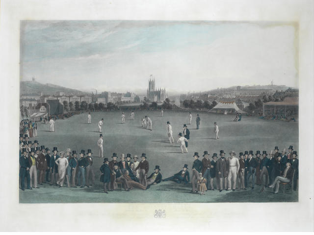 George Henry Phillips (British) The Cricket Match handcoloured engraving, 1849, published by E. Gambart & Co., London, 585 x 905mm (23 x 35 3/4in)(PL)