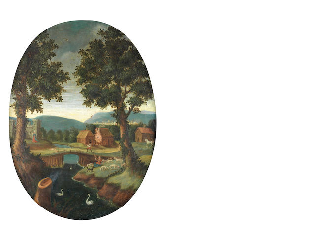 English Naïve School, Circa 1700 A rural idyll in a carved oval frame