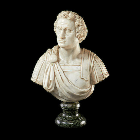 A 19th century Italian white marble bust of a Roman Emperor