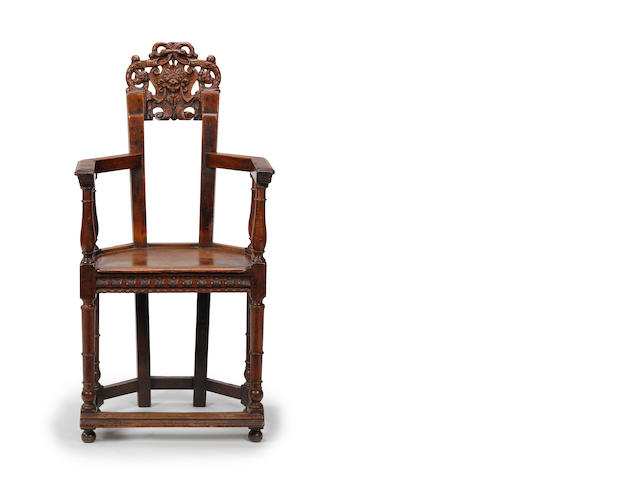 A rare Franco-Scottish walnut caqueteuse armchair, circa 1600
