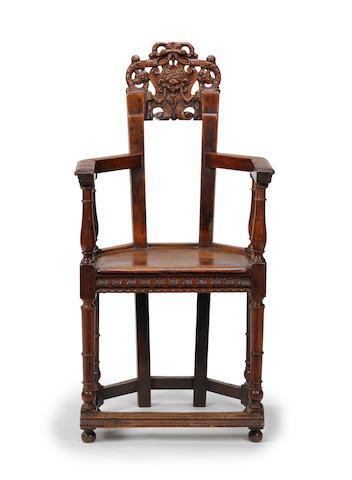 A rare Franco-Scottish walnut caqueteuse armchair, circa 1600