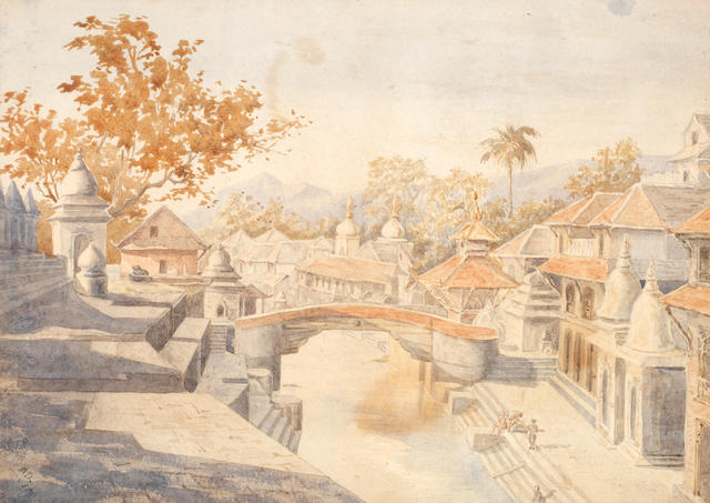"2 Watercolours: ""The valley of Khatmandoo""; ""Pushpatti, Khatmandoo"""