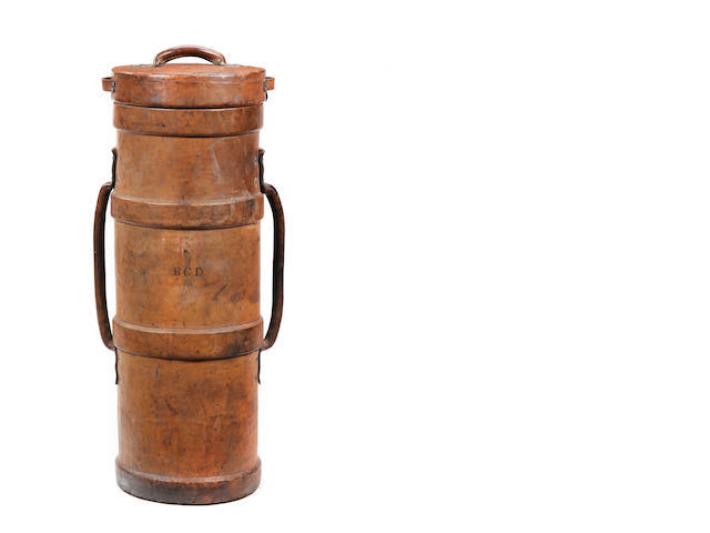 An early 20th century leather cordite or shell carrier, possibly of the Royal Canadian Dragoons