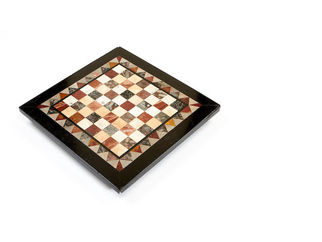 A late 19th century specimen marble gaming board