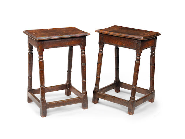 A rare pair of William & Mary oak joint stools Circa 1690